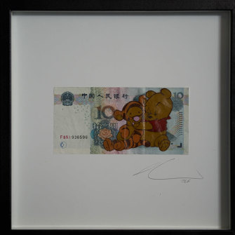 One of the works that was taken down. Winnie the Pooh, representing President Xi Jinping, strangles Tigger – a rhyme for Uighur. Winnie the Pooh is banned in China after being widely used to mock Xi.
