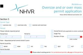 An NHVR oversize over mass permit application.