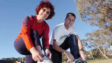 Jim and Maria White getting ready for the fun run in 2005.