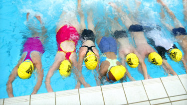 School children take swimming lessons in North Sydney.
