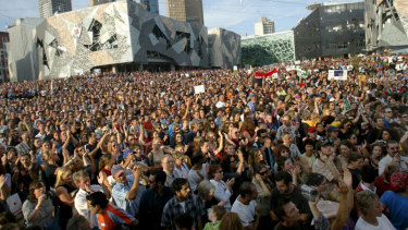 Protesters filled Federation Square in February 2003 to oppose the invasion of Iraq.