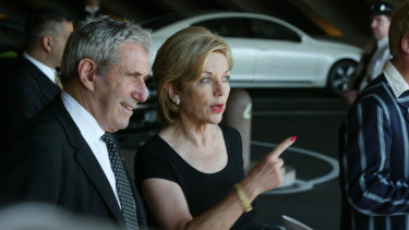 Miller and Ita Buttrose at the memorial service for Kerry Packer in 2006.