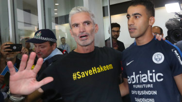 Craig Foster (left) was a high-profile campaigner to free refugee footballer Hakeem al-Araibi earlier this year.