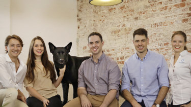 Elliot Smith (centre) and the Maxwell Plus team from the Brisbane medical technology startup.