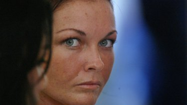 Schapelle Corby at Bali's Magistrates Court after being caught at Denpasar Airport with 4.1 kilograms of Marajuana in her boogie board bag.