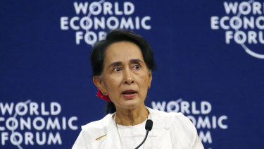 Myanmar State Counsellor Aung San Suu Kyi at the World Economic Forum's meeting  in Hanoi on Thursday.