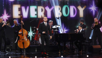 Robbie Williams on stage at the Royal Variety Performance.