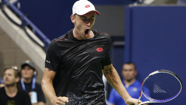John Millman reacts after winning a point against Roger Federer during the fourth round of the US Open.