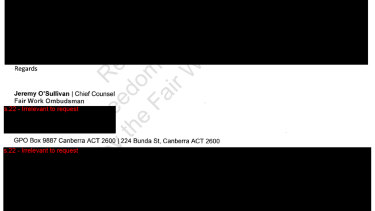 The Fair Work Ombudsman's redacted response to The Sydney Morning Herald's freedom of information request.
