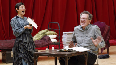 Yael Stone with Geoffrey Rush during rehearsals in 2010 for Diary of a Madman.
