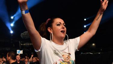 Comedian Celeste Barber at Fire Fight Australia in February.