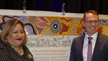 Professor Megan Davis and BHP CEO Andrew Mackenzie pictured in Perth on Thursday.