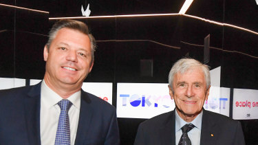 Seven West Media CEO James Warburton and chairman Kerry Stokes.