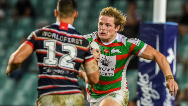 Powerhouse: George Brugess on the charge for the Rabbitohs.