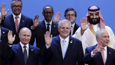 President of Russia Vladimir Putin, Prime Minister Scott Morrison and Crown Prince of Saudi Arabia Mohammed bin Salman bin Abdulaziz Al Saud during the family photo at the G20 summit in Buenos Aires.