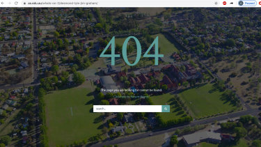 After inquiries from the Herald, a number of pages on the school's site were displaying this error message.