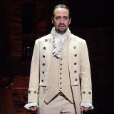 """""""I knew I needed black and brown bodies and voices"""": Lin-Manuel Miranda performs a song from Hamilton during the Grammy Awards in 2016."""