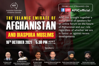 A post promoting the event with two Taliban representatives.