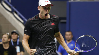 John Millman reacts after winning a point against Roger Federer in the US Open tennis. But he wasn't even in the running for the Melbourne Express target word comp.