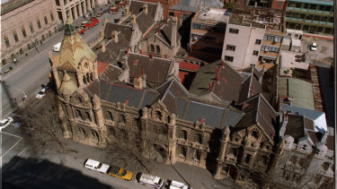 A rabbit's warren: The Russell Street complex which housed the magistrates' court in 1979.