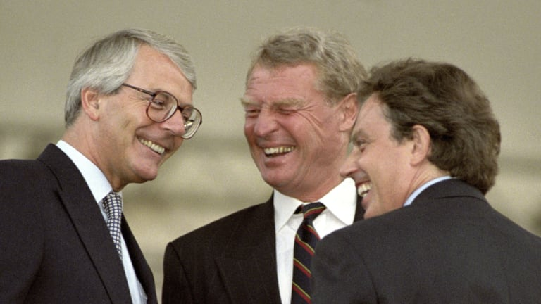 The then party leaders - Conservative leader John Major, Liberal Democrats' Paddy Ashdown and Labour's Tony Blair pictured in 1995.