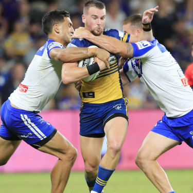 Parramatta captain Clint Gutherson takes on the Bulldogs defence in round one.