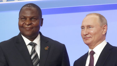 Russian President Vladimir Putin, right, and President of the Central African Republic Faustin Archange Touadera at a ceremony of the Russia-Africa summit in Sochi, Russia last year.
