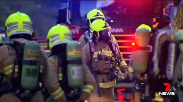 Firefighters at the scene of the explosion.