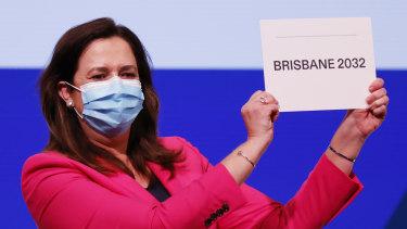 Annastacia Palaszczuk celebrates after Brisbane was announced as the 2032 Summer Olympics host city.