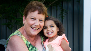 Tracey Whetnall with her granddaughter Kalina Fowler, 2, who is also a mad Rabbitohs supporter.