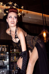 Burlesque dancer performing at the Employees Only first birthday.