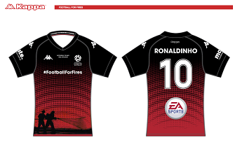 Ronaldinho's jersey for the Football For Fires match had already been designed.