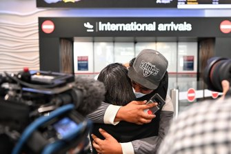 Emotional arrivals at Auckland airport on April 19, 2021.