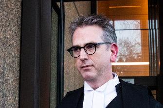 Nine barrister Nicholas Owens, SC, leaves court on Thursday.