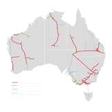 APA's gas pipeline network (in red) and CKI's (in green) accounts for the majority of the nation's gas transport infrastructure.