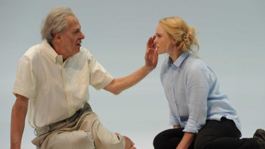 Geoffrey Rush opposite Eryn Jean Norvill during a rehearsal for King Lear.
