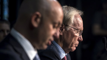 Decision day: Todd Greenberg and Peter Beattie at League Central on Thursday.
