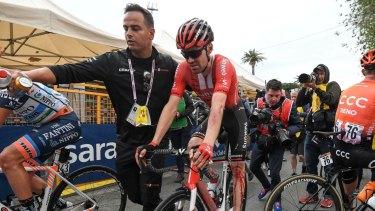 Dutch cyclist Tom Dumoulin after his crash on Tuesday.