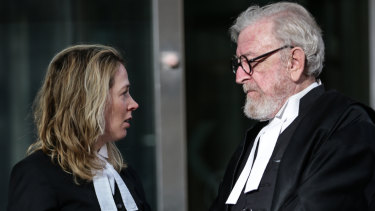 Lawyers Ruth Shann and Robert Richter outside the County Court last year.