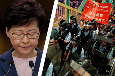 """Carrie Lam was almost in tears at a press conference as she called on protesters not to """"force Hong Kong into an abyss""""."""