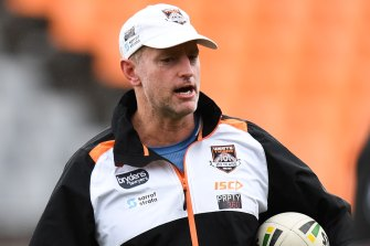 Wests Tigers coach Michael Maguire barking instructions.