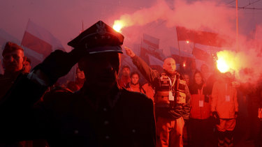 The 'March of Independence' organised by far-right activists to celebrate 100 years of Poland's independence.
