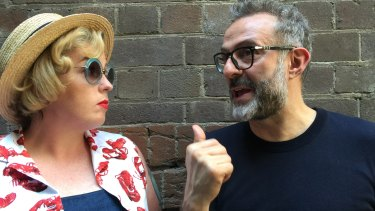 Move over cravats: Myffy Rigby with chef Massimo Bottura.