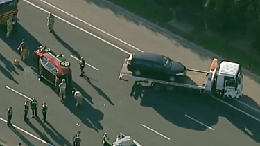 A three-car smash on the Eastern Freeway near Box Hill backed traffic up to Bourke Road.