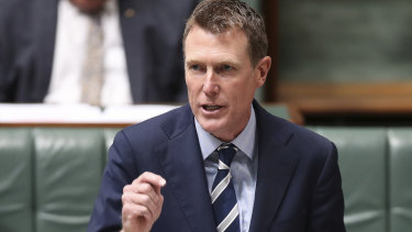 Attorney-General and Minister for Industrial Relations Christian Porter during Question Time at Parliament House.