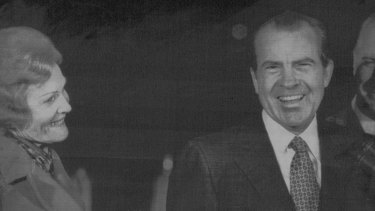 President Nixon with his wife, Pat.
