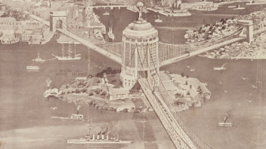 A 1922 design by Ernest Stowe included a lift to get vehicles from one section of the bridge