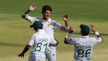 Shaheen Afridi takes the wicket of Australia A bat Joe Burns in the tour match in Perth.