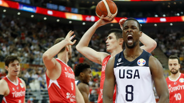 Taken to the limit: Harrison Barnes of USA reacts after a clutch basket against Turkey in Shanghai.