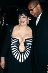 Susie Elelman with American television personality Mark Curry in her life-defining 1995 Logies gown.